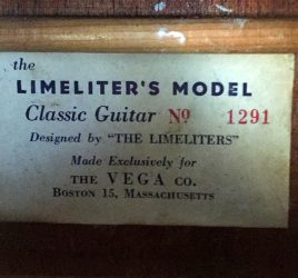 The original label inside the Vega guitar